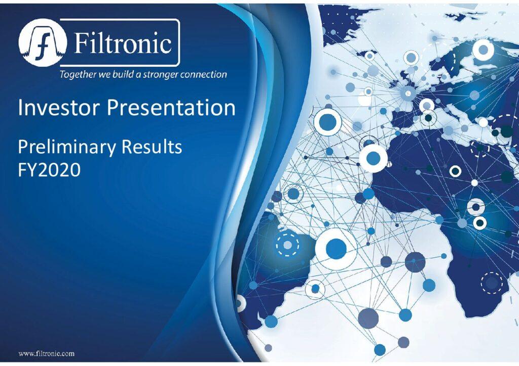 Filtronic Investor Presentation August 2020 V2